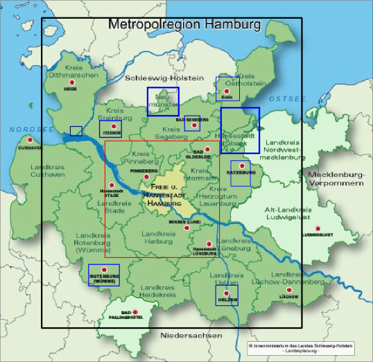 the hamburg metro region comprises aside from the city state of hamburg 18 counties county free cities from three federal states with a total population