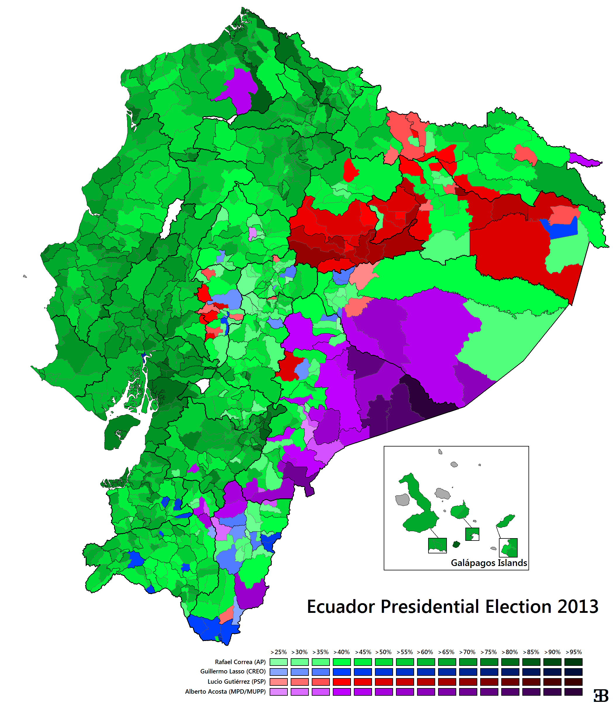 Ecuadorian maps thread it took me hours and hours but here it is the 2013 ecuadorian presidential election results map by parishes third level administrative divisions gumiabroncs Choice Image