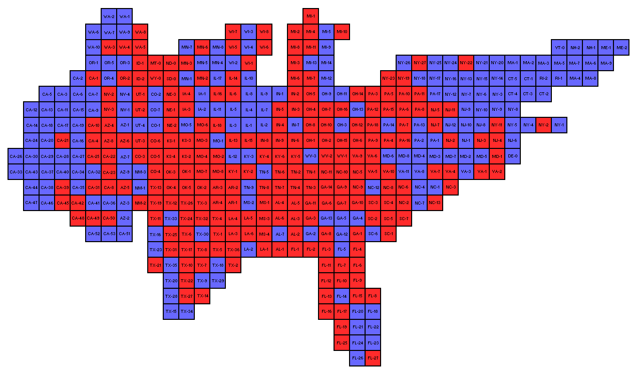 This Is A Cartogram Of The Us 2012 House Election Just Because I Couldn T Find One On The Internet I Based It Off The Style Of The Canadian Cartogram Maps