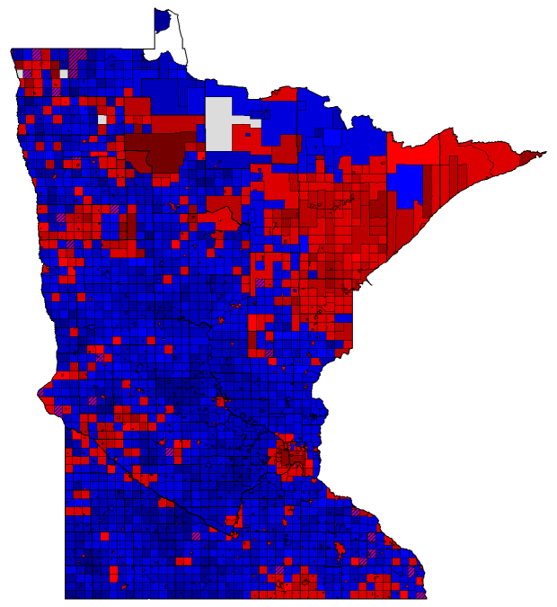 Minnesota President By City And Town The Atlas Weblog - Us voting map by county 2016