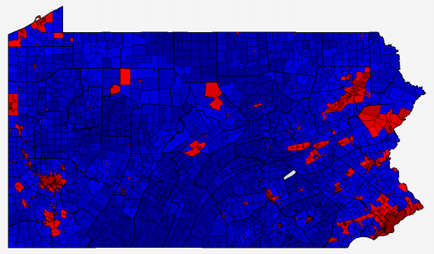 Pennsylvania 2012 Presidential Election Results Map By City And Township
