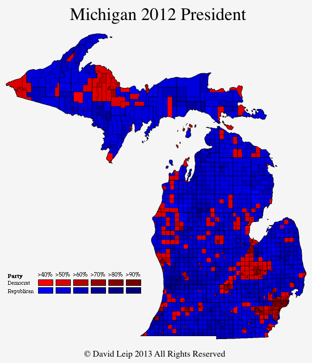 Michigan Map By City And Town - 2016 us election results map regional
