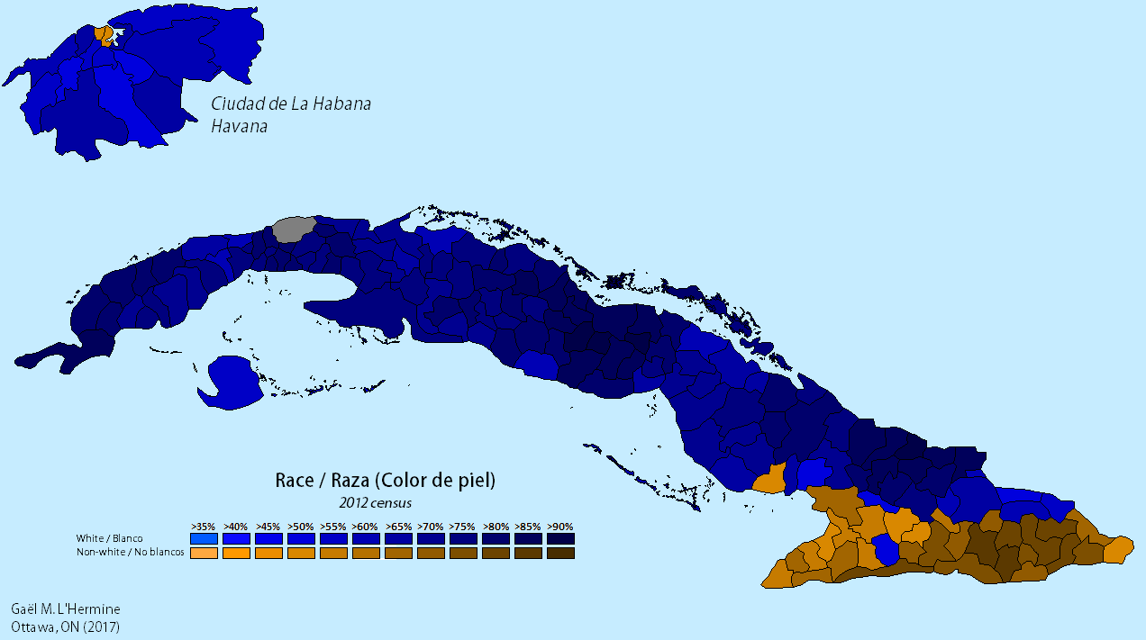 Racial Map of Cuba according to the 2012 census [1272 x 711] [OS ...