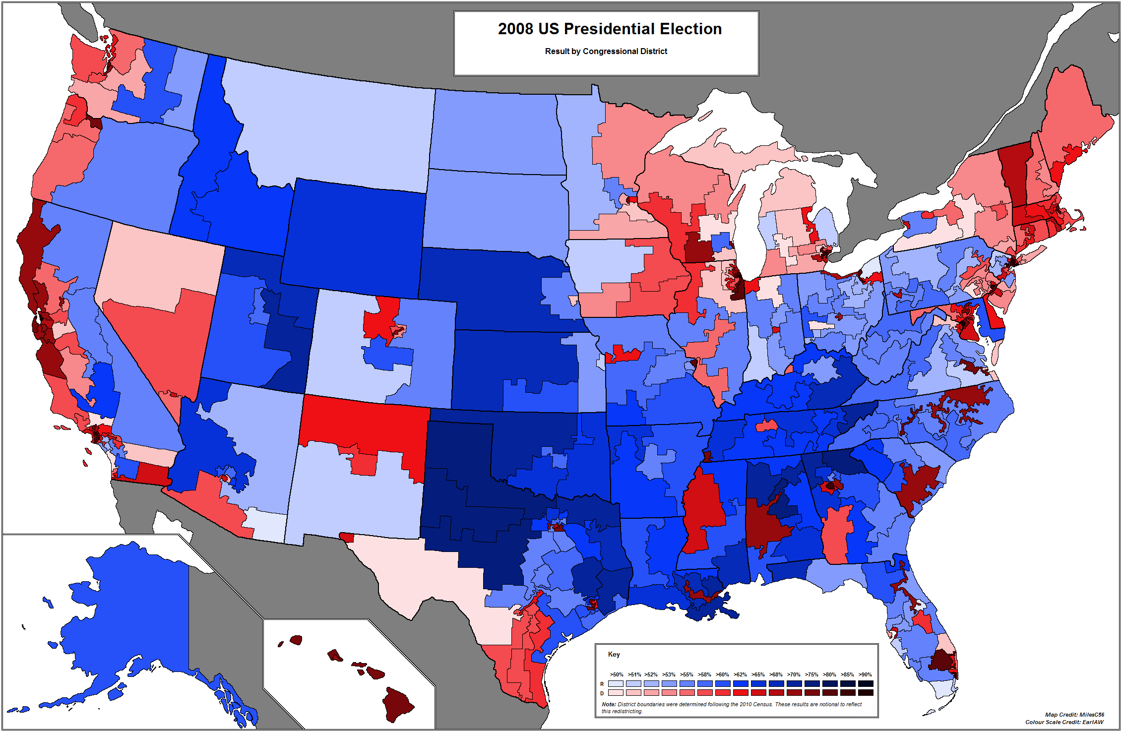 2004 2008 Presidential Swing By New Congressional Districts