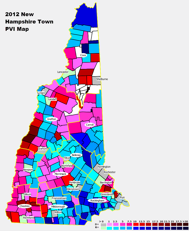 National And State PVI Bellwether Counties For All States - Nh map with all towns