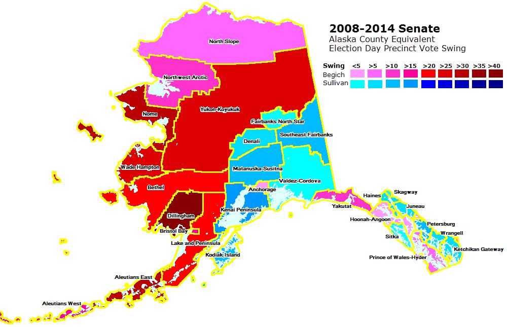 Mapping the 2014 Alaska Election Day Senate Precinct Vote