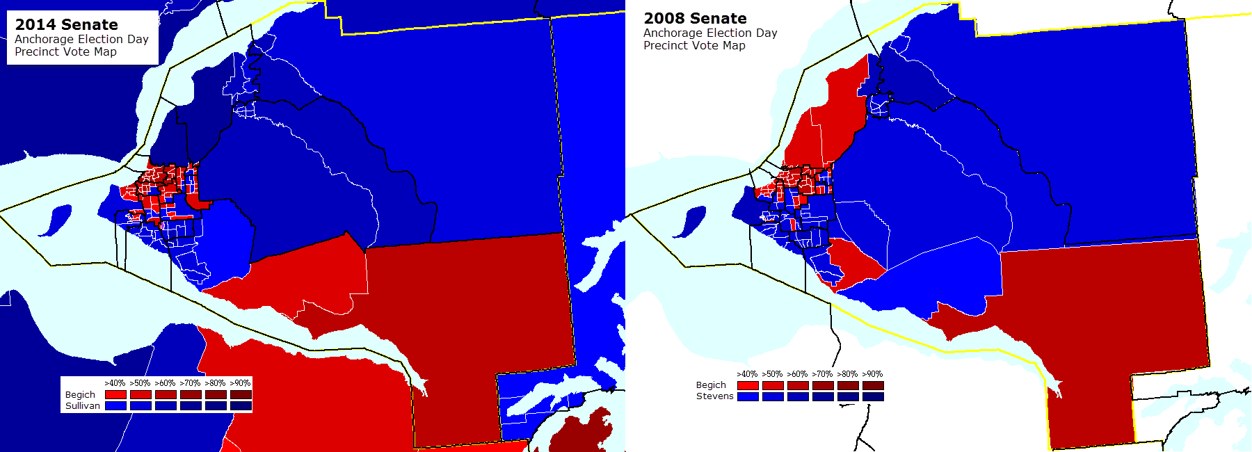 Mapping The 2014 Alaska Election Day Senate Precinct Vote