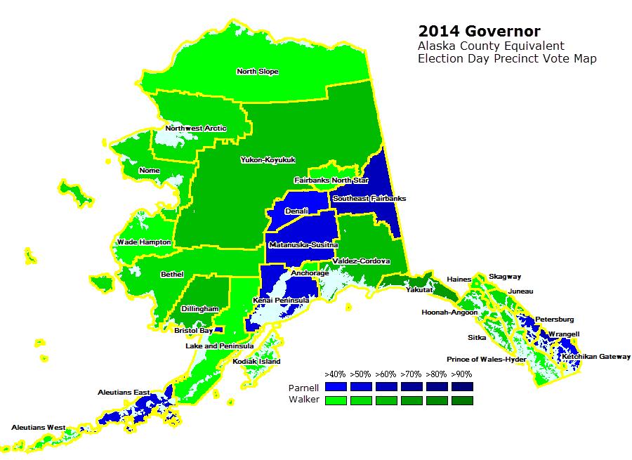 Alaska Governor Election Day Precinct Vote Maps - Alaska county map