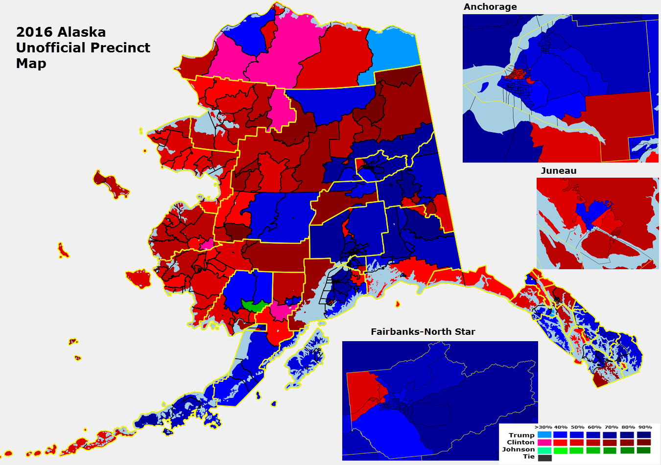 because alaska doesn t break down the early vote by precinct this is only of the election day vote the yellow lines are of the alaska county equivalents