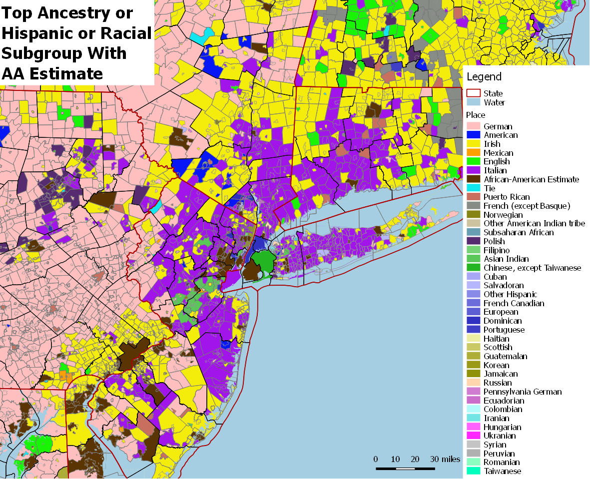 Top Ancestry or Hispanic or Racial Subgroups for US County Subs