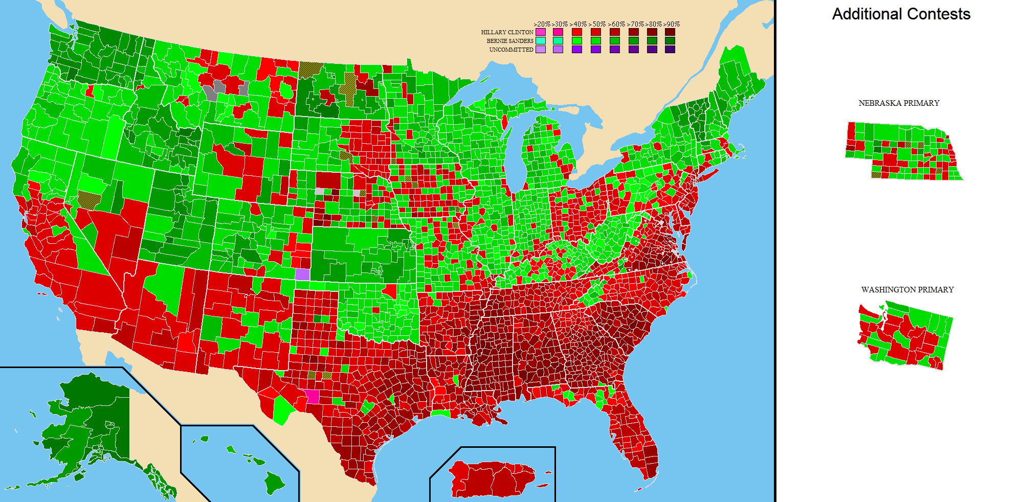 National Presidential Primary County and State Maps (1912-2016)