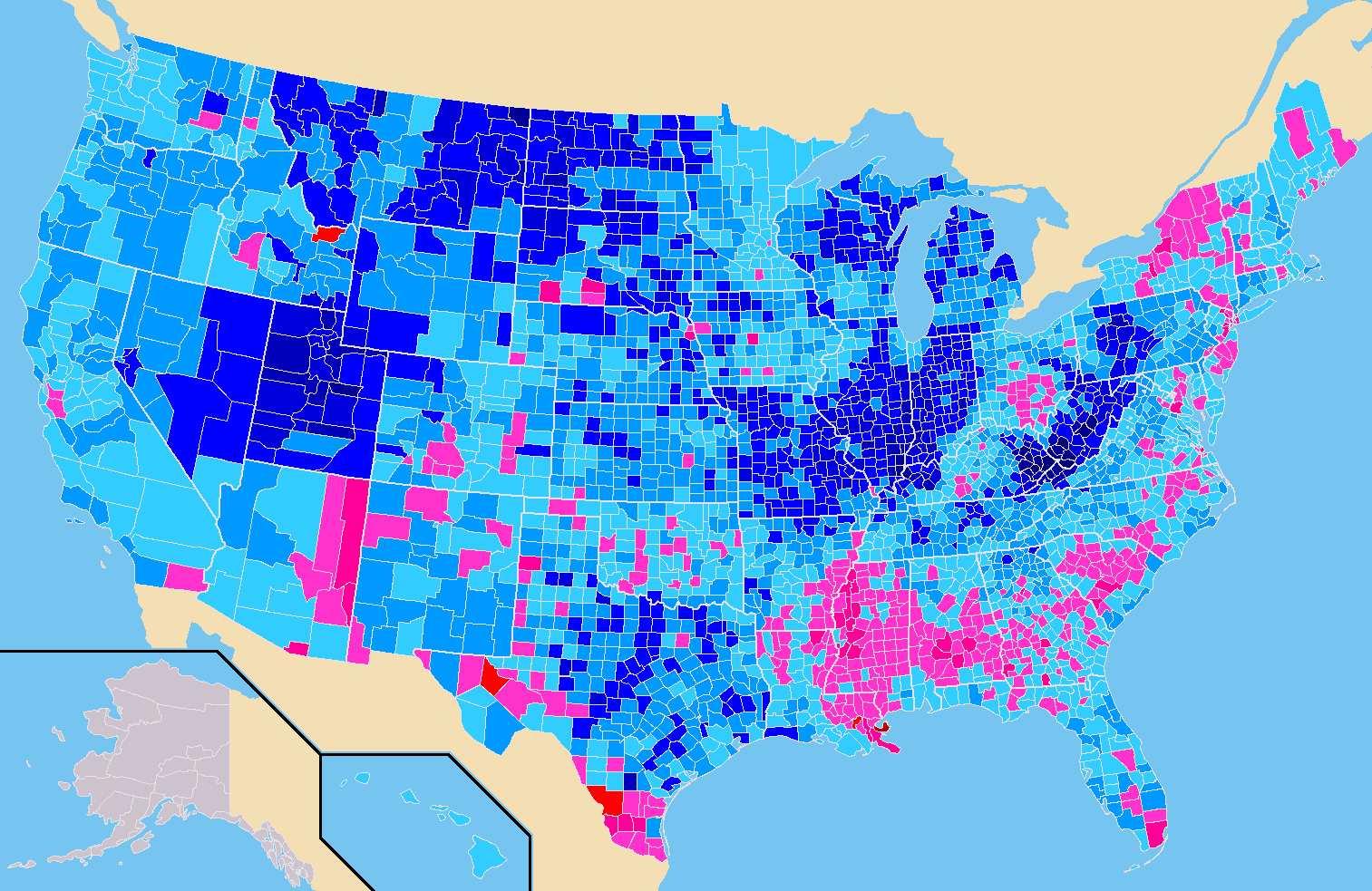 November World Elections - Map of county votes for us election