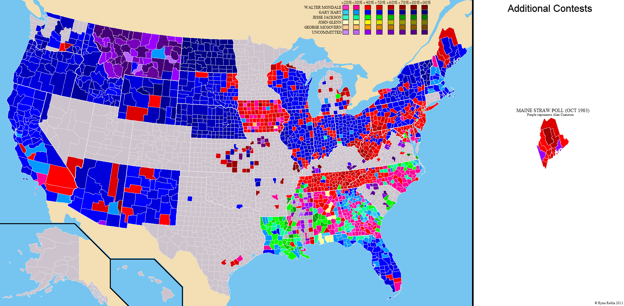 National Presidential Primary County And State Maps - Us election map 1984