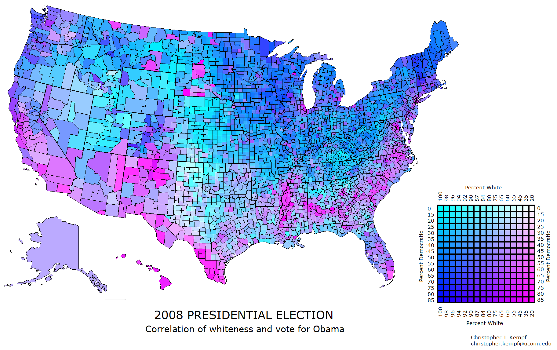 US County Map RaceParty Correlation - Us party map