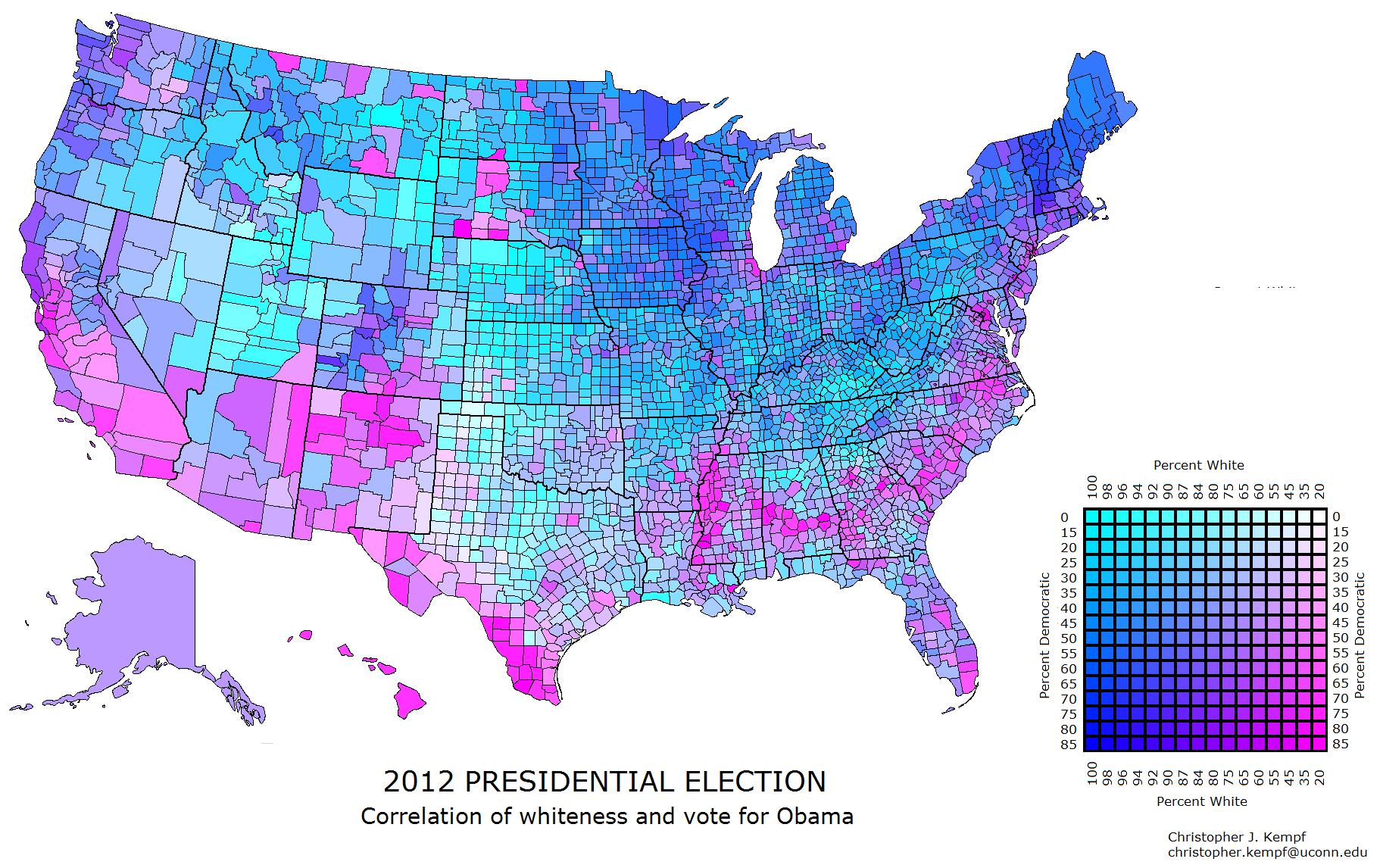 US County Map RaceParty Correlation