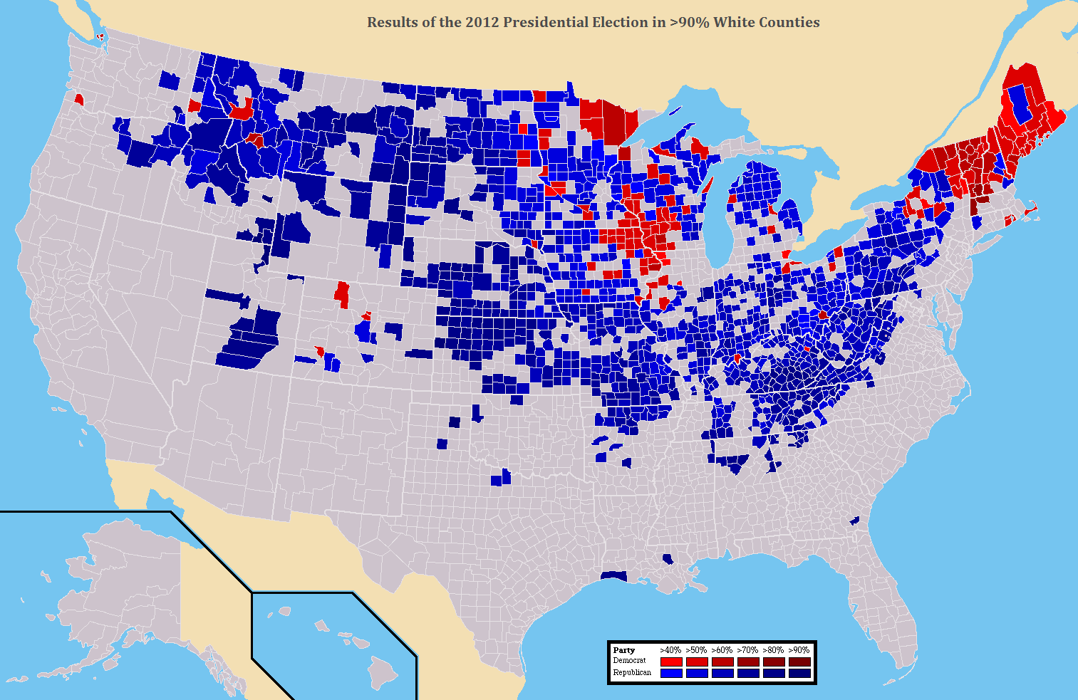 Map Results Of The Pres Election In NonHispanic White - Purple map of the us election