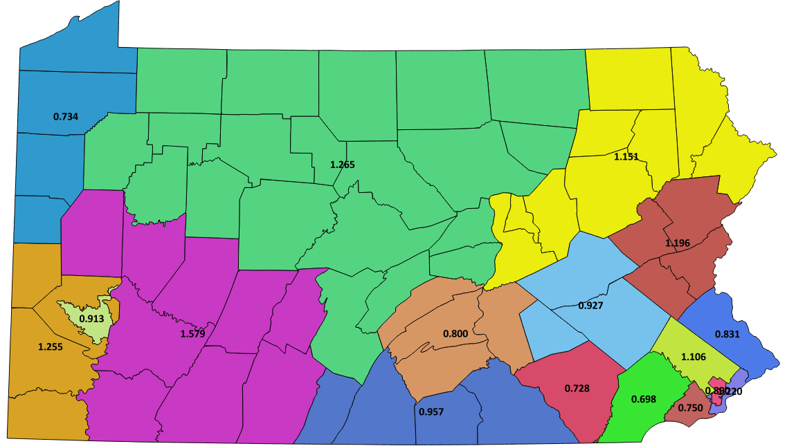 the five western districts have a population equivalent to 5746 districts or have the population for about 34 of an extra district