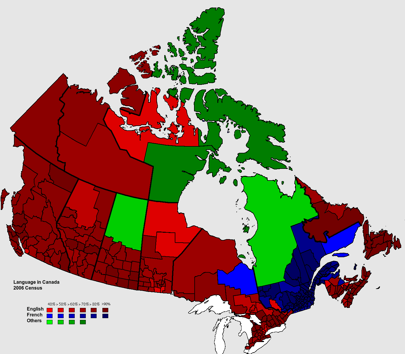 Map Of Canada Languages.Language Map Of Canada 1388 X 1214 Mapporn