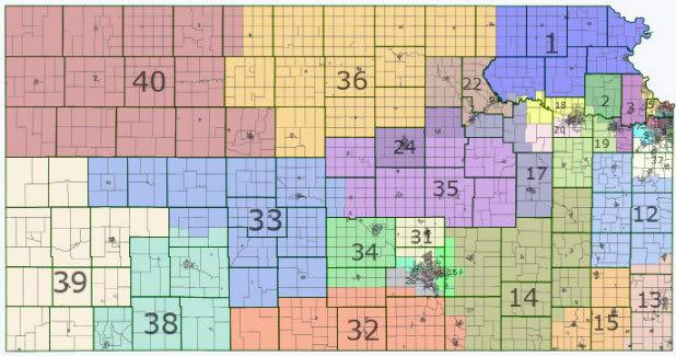 Windjammer Partisan Voting Index For US State Senates - Map of us senate districts in kansas